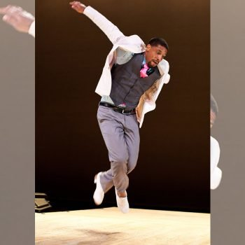 Tapdancer leaps into the air